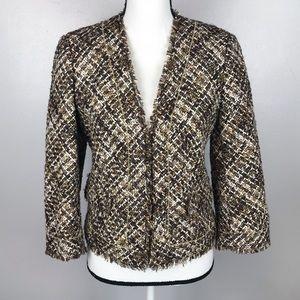 Ann Taylor Brown White Blazer Jacket Beaded Fray